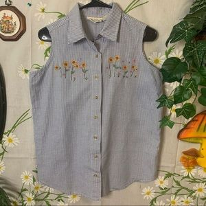 Vintage sunflower embroidery blue gingham tank top